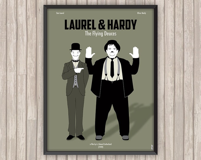 LAUREL & HARDY Conscrits (The Flying Deuces), l'affiche revisitée par Lino la Tomate !
