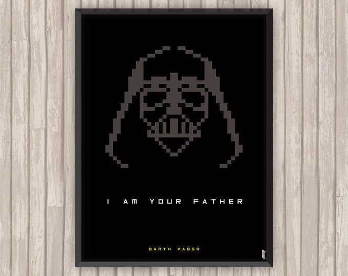 STAR WARS, Dark Vador (Darth Vader), Pixel art, l'affiche revisitée par Lino la Tomate !