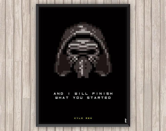 STAR WARS, Kylo Ren, Pixel art, l'affiche revisitée par Lino la Tomate !