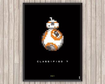 STAR WARS, BB-8, Rey, Pixel art, l'affiche revisitée par Lino la Tomate !