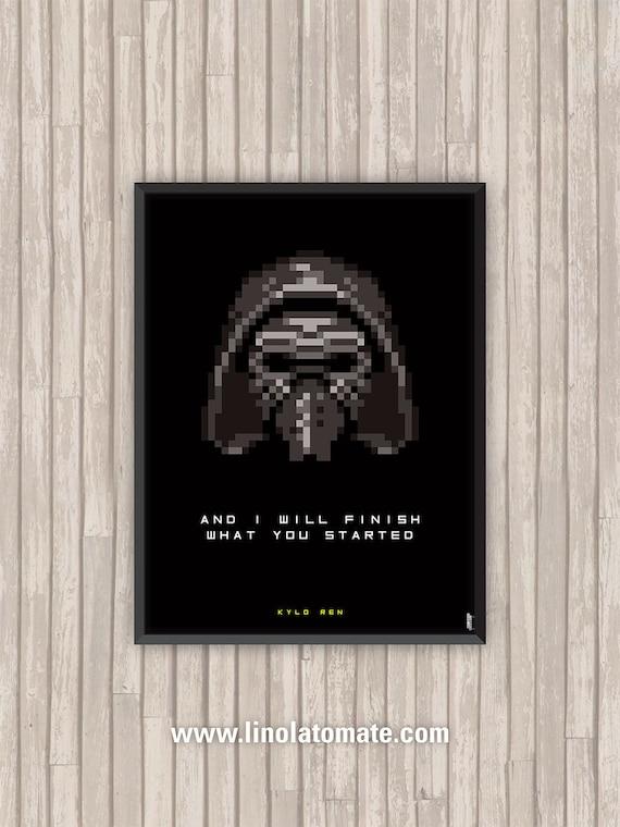 Movie Poster Star Wars Kylo Ren Pixel Art