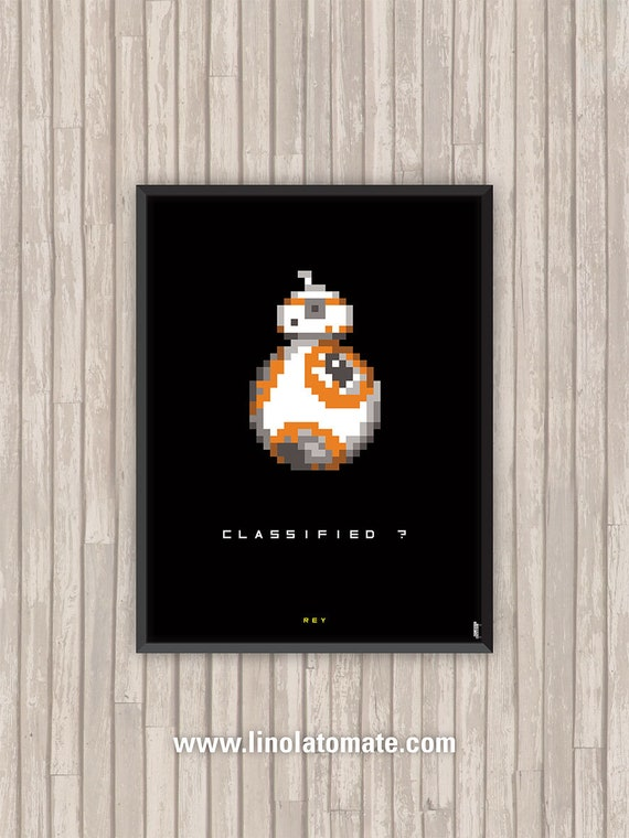 Affiche Film Star Wars Bb 8 Rey Pixel Art