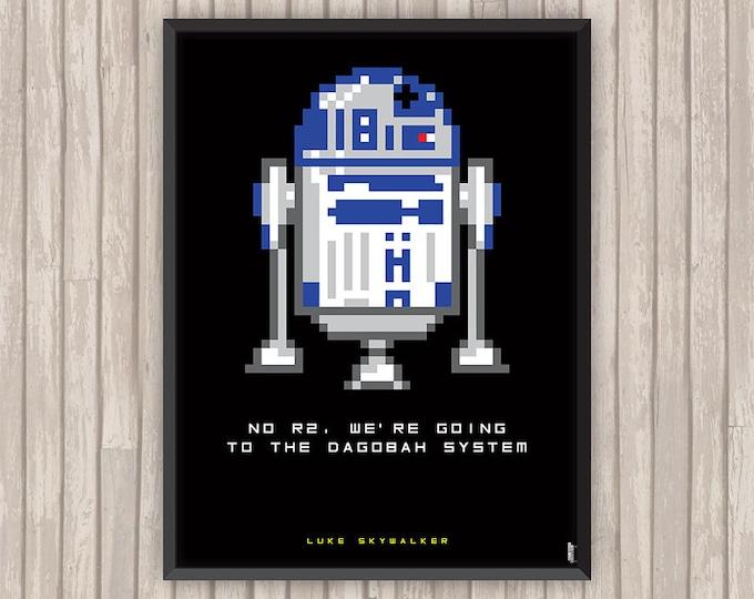 STAR WARS, R2-D2, Luke Skywalker, Pixel art, l'affiche revisitée par Lino la Tomate !