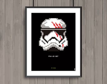 STAR WARS, Finn, Pixel art movie poster