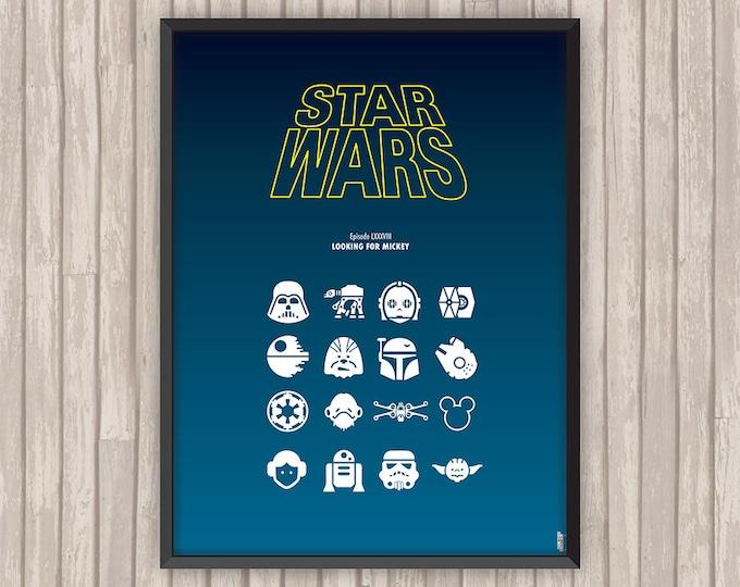 STAR WARS Episode LXXXVIII Looking for mickey, l'affiche revisitée par Lino la Tomate !