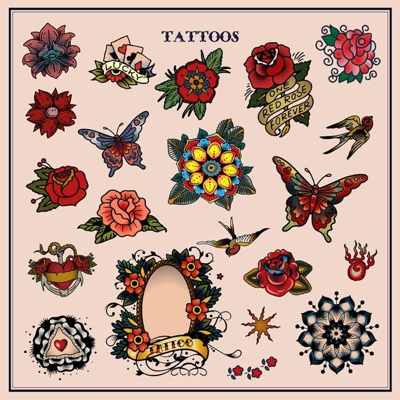 Vintage Style Flower Tattoos