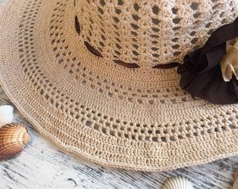 Crochet summer hat... Cotton sun hat... Handmade Crochet sun  241a0f6d6538
