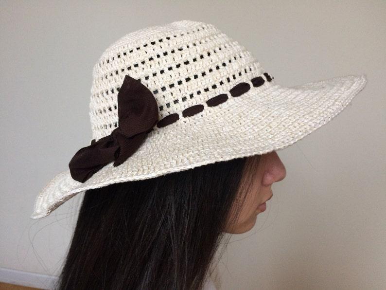 Crochet sun hat Cotton cream summer hat  f7622a1adb53
