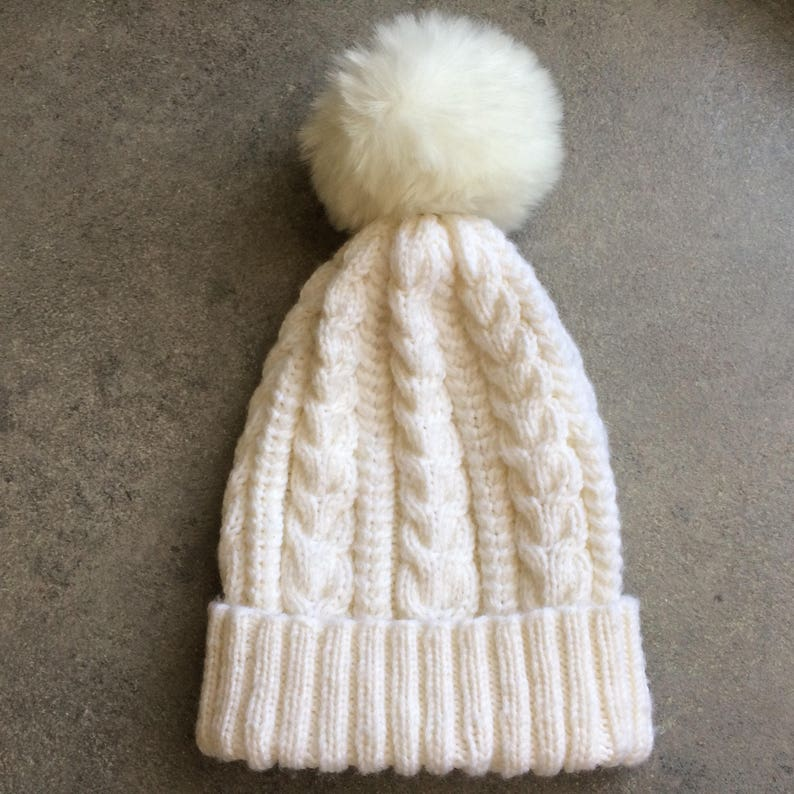 f218e643be9 White Winter Hat...Hand Knit Beanie...Cable Knit Winter Hat