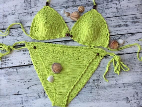 bikini bikini Triangle crochet Crochet bikini Neon O1q6Yzwz