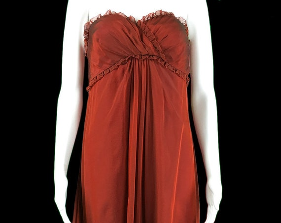 Vera Wang Lavender Label Dark Red Silk Evening Gown--Size 10  (SKU 10110CL)