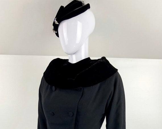 Vintage 1950's Dress and Jacket Paulette Paris and Fascinator with Rhinestones Sam Winston Bramson (SKU 10792CL)