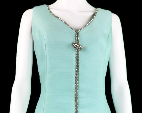 Turquoise Blue Vintage 1960s MOD Cocktail Dress with Rhinestone Tassel and Trim  (SKU 10047CL)