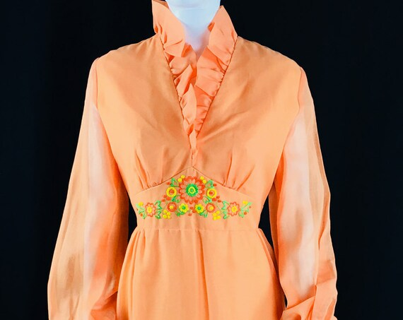 Orange Vintage 1970's Gown with Embroidery and Ruffles  (SKU 10781CL)