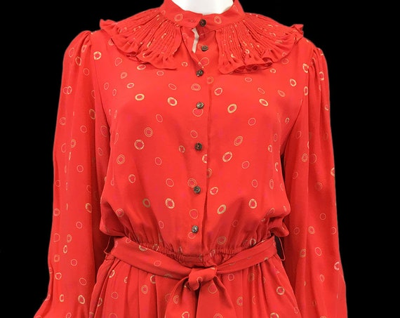 Zandra Rhodes Incredible Coral Red Silk Golden Circle Print Vintage Shirt Dress with Matching Tie Belt (10054CL)