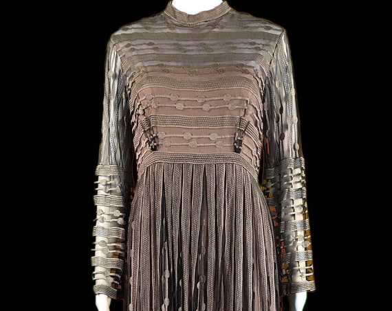 Alfred Bosard for Stanley Korshak Chicago 1970s Black Brown Arts and Crafts Style Lace Evening Gown  (10161CL)