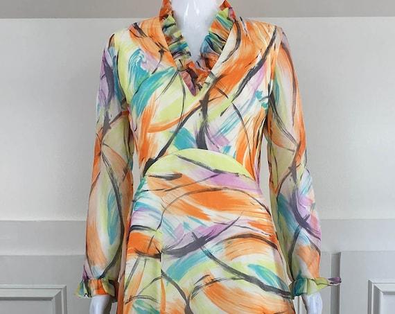 Vintage Ruffled 1970s Long Sleeve Maxi Hostess Dress. (SKU 10768CL)