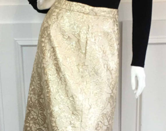 Malbe Gold & Cream Metallic Lurex MOD 1960s Full Length Maxi Skirt Size 13  (10118CL)