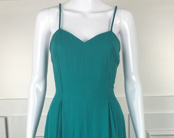 Vintage Teal Jumpsuit Romper 1990s Petite Spaghetti Straps Sweetheart Neckline Palazzo Pant  - Size 9 (SKU 11020CL)