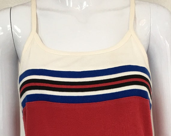 Express Blues Red White & Blue Tank 1990s Dress with Spagehtti Straps and Racer Back Size Medium   (10213CL)