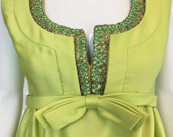 Elinor Simmons For Malcolm Starr Lime 1960s / 1970s Lime Green Evening Gown with Large Green Rhinestone Embellishment Sz. 10  (SKU 10162CL)