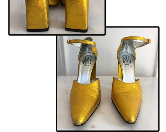 Free*Lance Classics Paris 1990s Citron Metallic Gold Heels Size US 9 (SKU 10147SH)