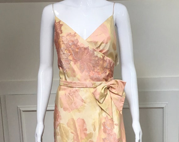 Carmen Marc Valvo Neiman Marcus 1990's Embroidered Floral Fit and Flare Dress with Bow Belt NWTs! Orig. 1,650!  Size US 10 (SKU 11006CL)