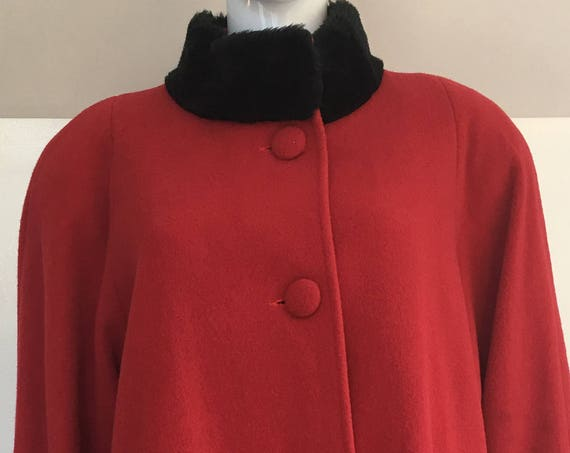 Albert Nipon Red Wool 1980s Swing Coat with Black Standing Faux Fur Collar and Cuffs Plus size (SKU 10547CL)