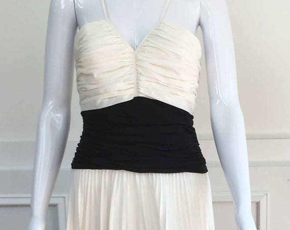 Contemporary B C B G Max Azria Cream and Black Dress--Sz. 12 (SKU 10132CL)