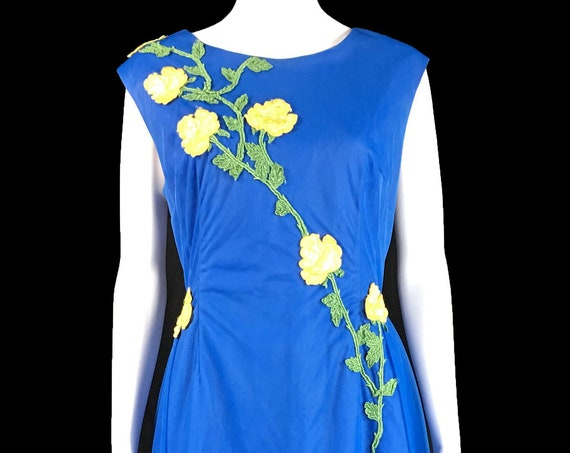 Plus Size Ann's Vogue Shoppe Ocean Blue Yellow Flowers  1960s / 1970s Ball Gown (SKU 10729CL