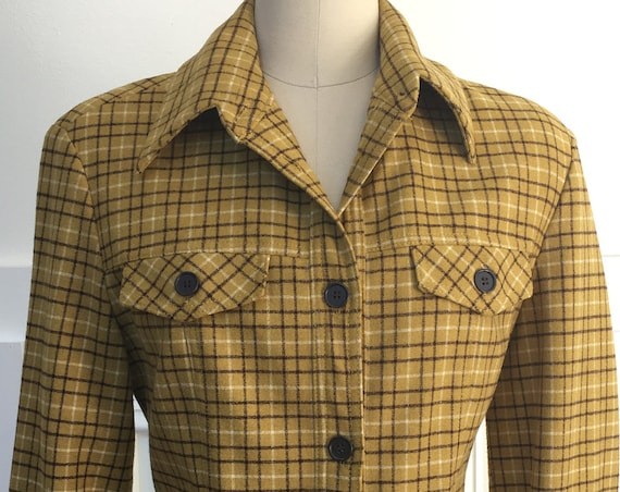 Benneton Italian Made 1970s Plaid Wool Blend Utility Jacket Pristine! Size FR 42  (10533CL)
