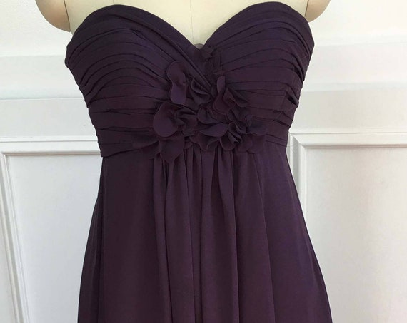 1990s Vintage Bill Levkoff Plum / Purple Strapless Formal Evening Gown Size 0 / XS (SKU 10084CL)