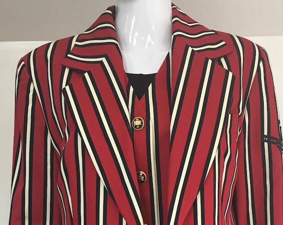 Louis Feraud Red Black and White Striped 1990s Vest and Matching Blazer  Size  FR 44 / US 12  (SKU 10156CL)