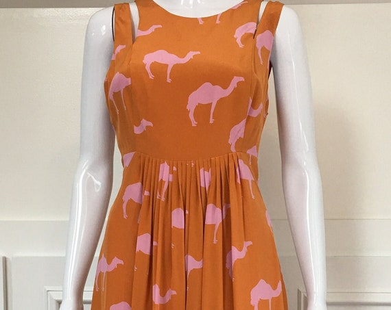 Anthropologie Charlotte Taylor Orange and Pink Silk Sexy Back Camel Print Dress Size 8  (SKU 10245CL)