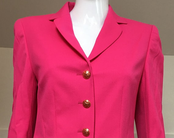 Hot Pink Fuchsia 1980s Escada Margaretha Ley Stretch Wool Blazer with Gold and Pink Inlaid Buttons NWTs! - Size 34 (SKU 11009CL)