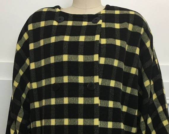 Escada Deep Yellow and Black Bold Plaid 100% Wool 1980s Cocoon Coat Size EU 40 / PLUS (SKU 10354CL)