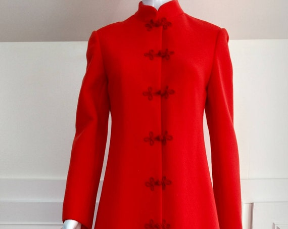 Originala For Saks Fifth Avenue Stunning Blood Orange Mandarin Style 1960s  / 1970s Floor Length Coat  (SKU 10338CL)