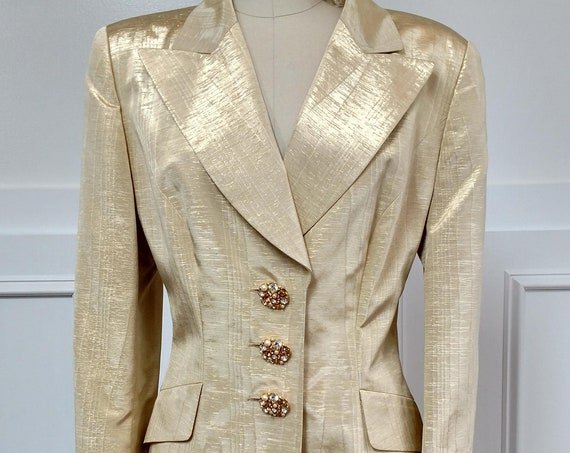 Shimmering Escada Couture Gold Moire 1980s Cocktail Skirt Suit Size EU 42  (SKU 10390CL)