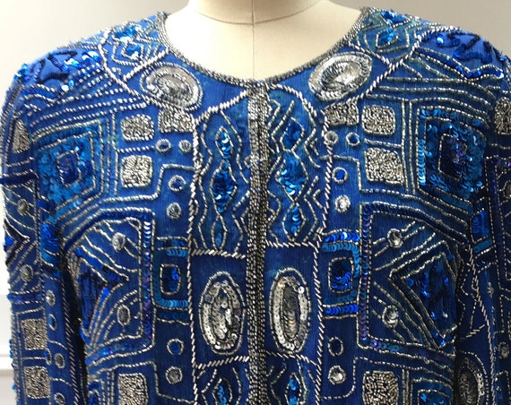 Bright Blue Art Deco Look Stenay 1980s Sequined Jacket Vintage / NWTs!! Size Medium (SKU 10242CL)
