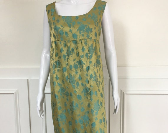 Shimmering Gold and Turquoise Damask PLUS Sized Custom 1960s Hostess Evening Gown PLUS Size  (SKU 10187CL)