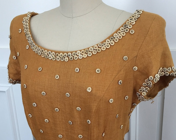 Carmen Marc Valvo Goldenrod and Gold 1990s Beaded Linen Dress with Knockout Back Cutout Size 12  (SKU 10176CL)