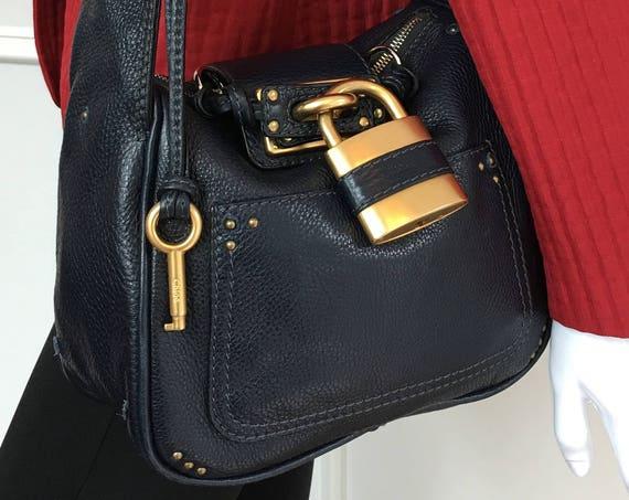 """2000s Authentic Chloe Navy Blue """"Paddington"""" Handbag with Heavy Antique Gold Hardware (SKU 10201HA)"""