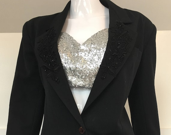 Phillipe Adec Paris 1980s Black Wool Blazer / Jacket with Gorgeous Black Applique' on Lapel Size Small (SKU 10513CL)