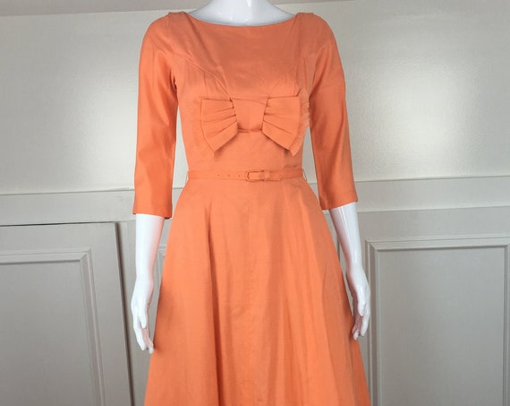 Vintage 1950's Carol Craig Exclusive Orange Cotton Blend Day Dress With Swing Skirt and Crinolines - Fits like a 6 (SKU 10151CL)
