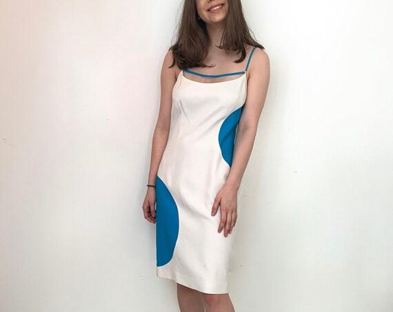 Vintage 1990s David Meister Mod Polka Dot Turquoise and White Linen Blend Sleeveless Dress Size 2  (11034CL)
