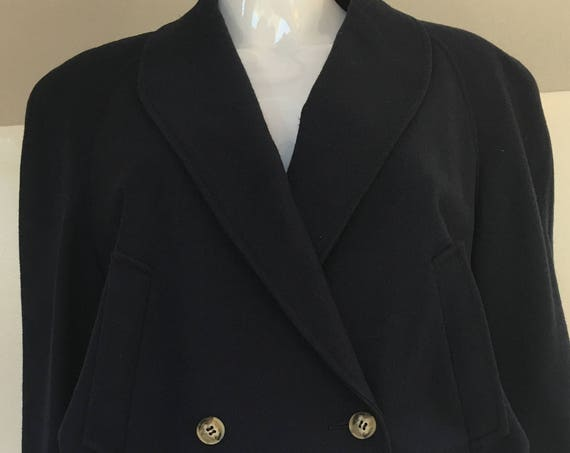 Blassport for Bill Blass 1970s Dark Navy Wool Cropped Double Breasted Pristine Jacket Size 12 / Plus Size (SKU 10550CL)