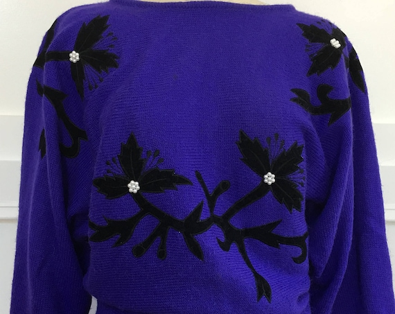 Christina Super Cute Bright Purple 1980s Sweater with Seed Pearls and Black Velveteen Floral Applique' Size Medium (SKU 10582CL)