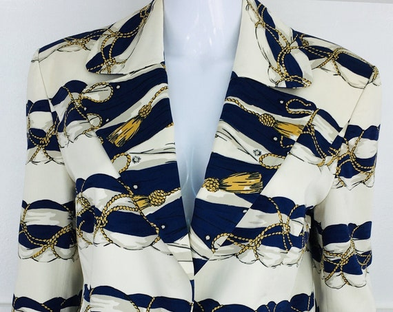 Nautical 1980s Louis Feraud Set Off White and Navy Blazer with Gold Tassel and Rope Print - Size 6 (SKU 11015CL)