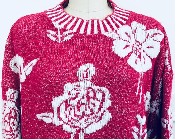 Glamour Knit Pink Poinsettia Glittery Lurex1970s Christmas Sweater Plus Size(SKU 10583CL)