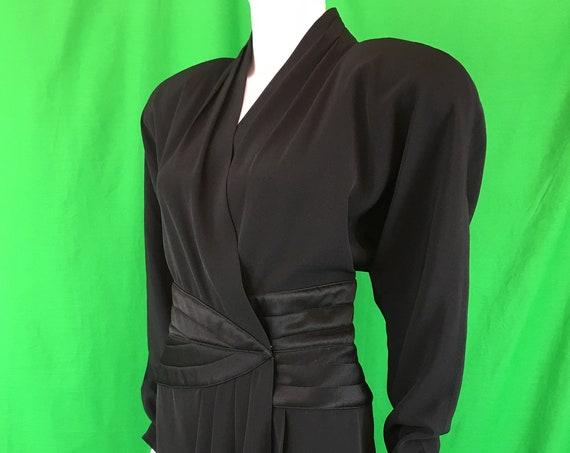 Saks Fifth Avenue Daymor Couture Vintage 1980s Tuxedo Style Black Plus Cocktail Dress Plus US Size 16 (SKU 10926CL)